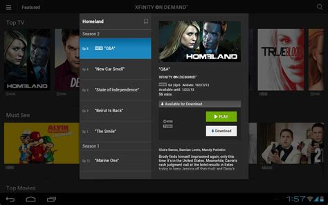 xfinity app android xfinity tv player app updated now allows tv shows and from certain channels to be downloaded