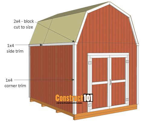 Shed Roof Trim by Shed Plans 10x12 Gambrel Shed Construct101