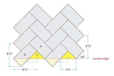 printable tile instructions herringbone installation aspect aspect