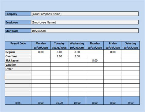 payroll timesheet template 10 download free documents