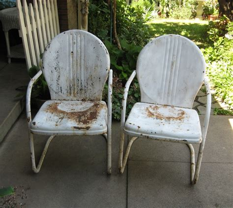 Motel Chairs Vintage by Pair Vintage White Metal Lawn Motel Chairs Great