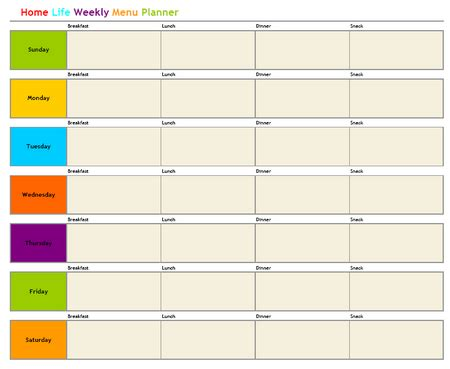 free weekly menu planner 171 home weekly