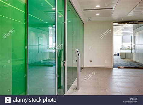 green glass room green glass wall meeting room city office bank stock photo