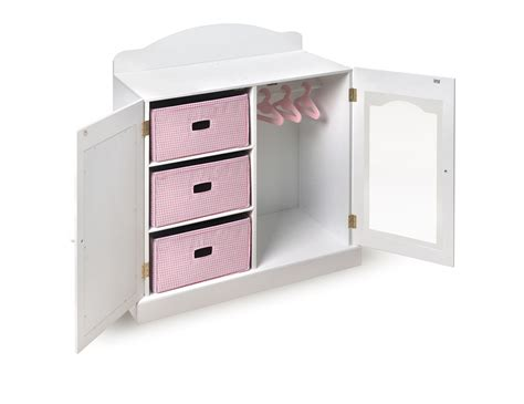 doll armoire badger basket mirrored doll armoire with 3 baskets and