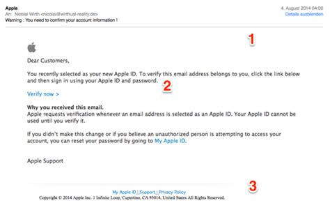 Offizielle Email Auf Englisch Mac Business Coaching Anatomie Einer Apple Id Spam E Mail