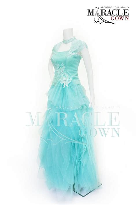 design gaun malam elegan miracle gown siren blue drapery dress www facebook com