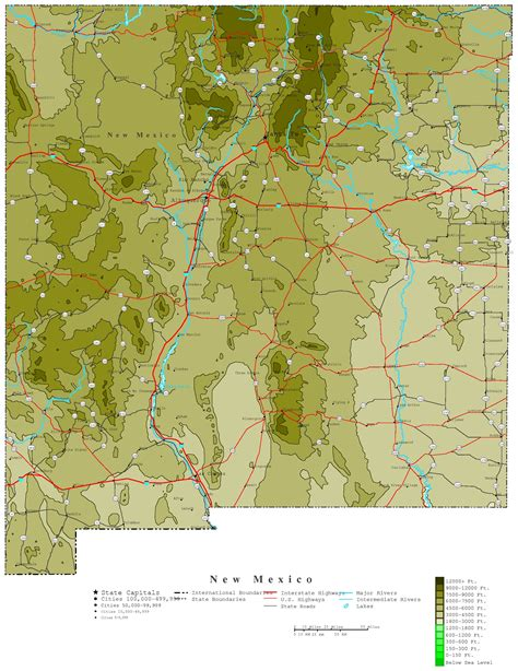 maps of new mexico new mexico contour map
