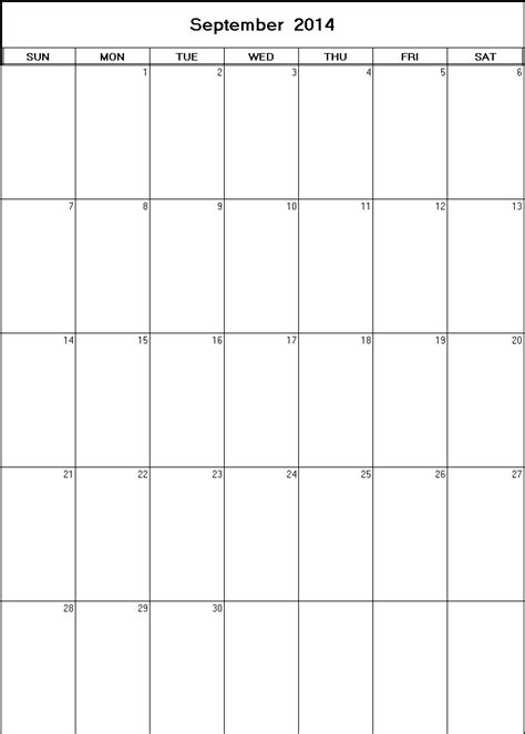 printable monthly planner september 2014 september 2014 printable blank calendar