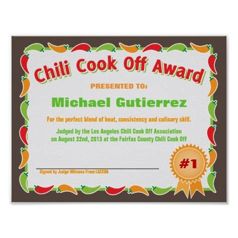 chili cook certificate template 10 best images of chili cook award certificate