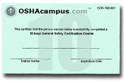 osha 10 card template osha 10 hour and 30 hour safety