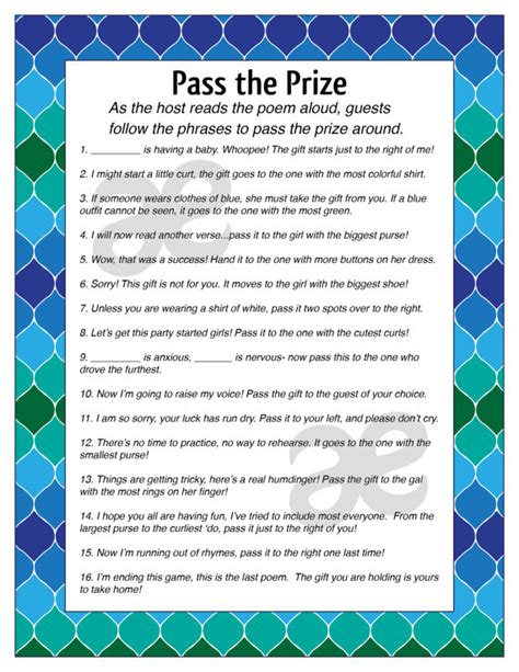 story to pass gift printable customizable baby shower activity pass the prize
