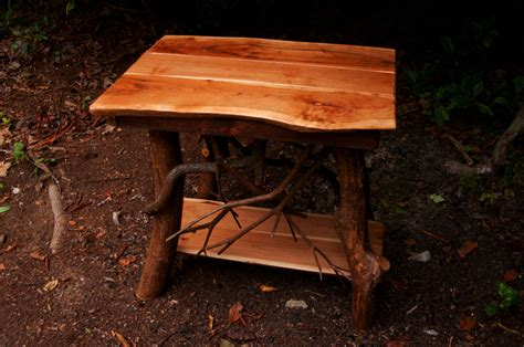 Handmade End Tables - rustic tree wood handmade cherry end table log cabin