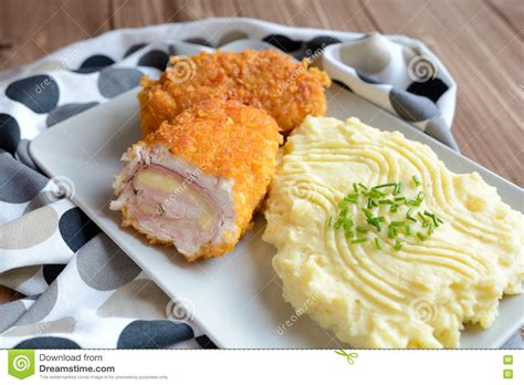 Oshinfood Cordon Blue cordon bleu with mashed potatoes stock photo image 74244902