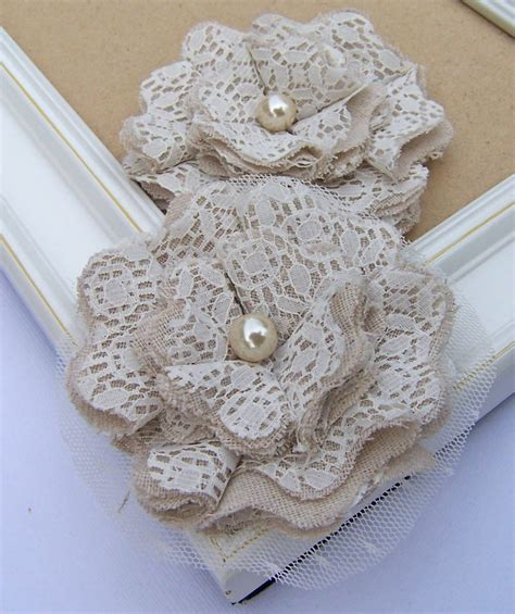 Flowers Lace burlap and lace flowers from the curtsey boutique he