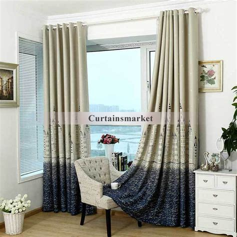 myru blue castle shade cloth curtain childrens bedroom kids bedroom castle patterns wide blackout curtains