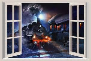 Repositionable Wall Murals Locomotive Train Window View Repositionable Color Wall