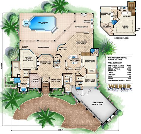 florida house plans with pool mediterranean house plans with pools escortsea
