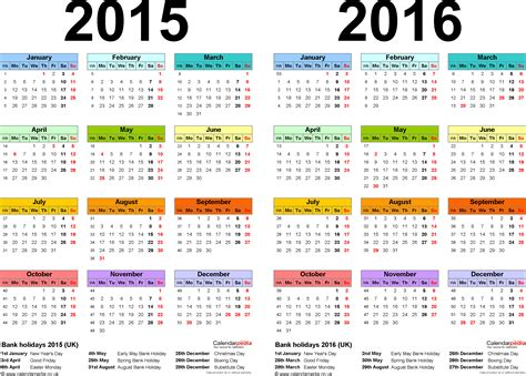 2015 2016 Academic Calendar Two Year Calendars For 2015 2016 Uk For Word