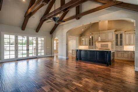kitchen living room great room vaulted ceiling wood