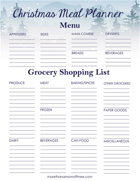 printable holiday meal planner christmas meal planner printable