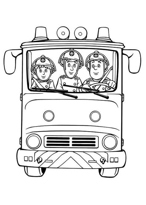 Fireman Sam Fireman Sam And Friends On Fire Trucks Colouring Pages Fireman Sam