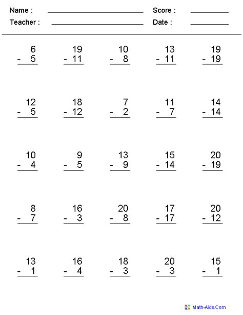 create your own subtraction practice worksheets or type