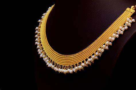gold jewellery pattern kasavu mala by bhima jewellers jewellery designs