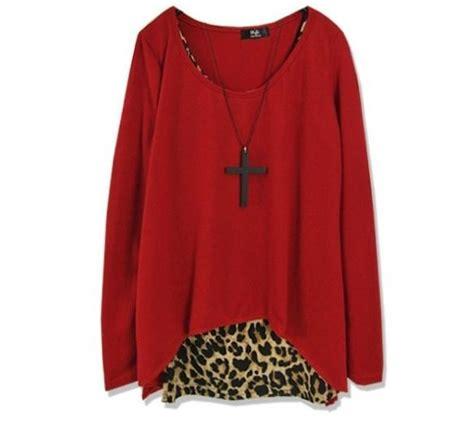 Baju Banana Lengan Panjang baju wanita import leopard merah panjang model terbaru jual murah import kerja