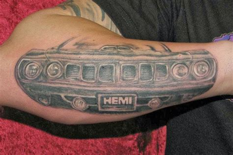 automotive tattoos designs car front on arm
