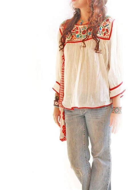 Blouse Boho Ribbon dominga mexican embroidered boho hippie chic blouse cotton
