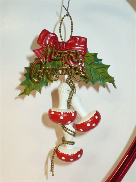 classic christmas tree ornaments vintage unique metal merry mushrooms tree ornament ebay