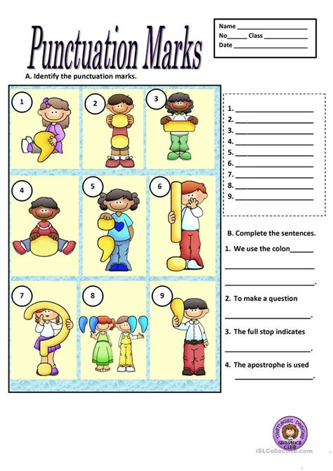 Punctuation Marks Worksheets by Punctuation Marks Worksheet Free Esl Printable
