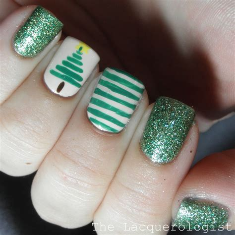 christmas nail art 1 stripe christmas tree casual