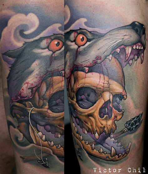 bloody wolf tattoo neo traditional style colored arm of human skull in