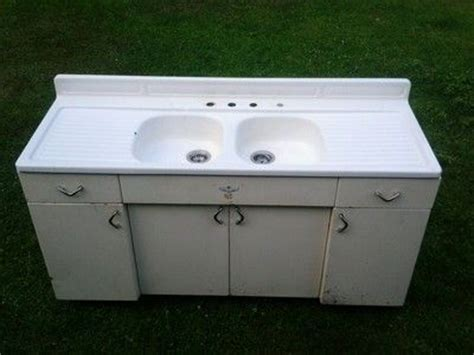 Youngstown Kitchen Sink Vintage Porcelain Cast Sink On Vintage Mullins Cabinet