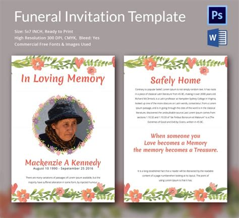 Sle Funeral Invitation Template 11 Documents In Word Psd Funeral Announcement Template Free