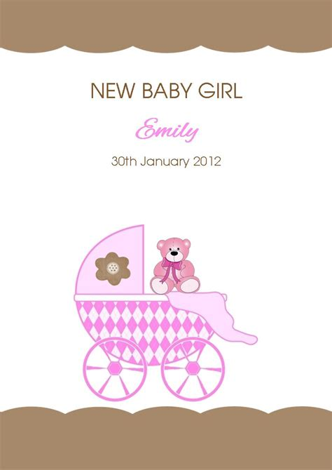 new birth baby girl card coco eclaire cardspark