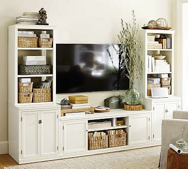 pottery barn media cabinet white logan media suite with door bookcase antique white