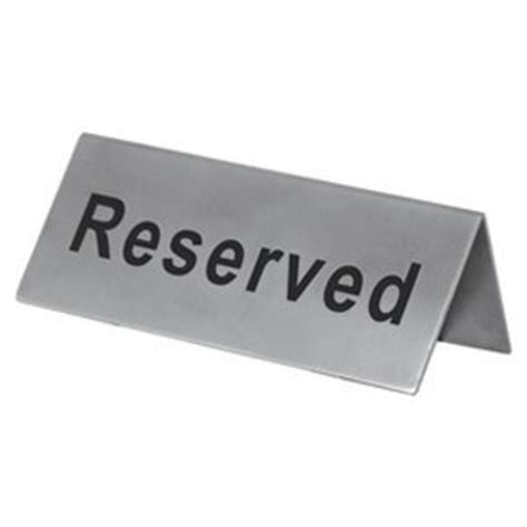 Table Signs by 1 X Reserved Table Sign Stainless Steel Tableware Collections Kitchen Dining