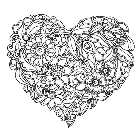 abstract heart coloring pages for grown ups drawing