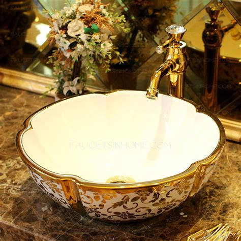 gold vessel sink luxury ceramic stamping floral