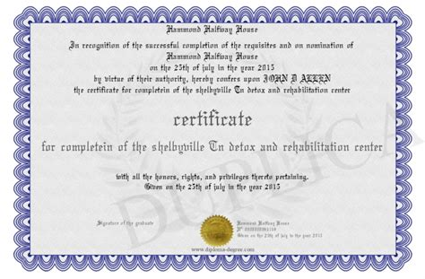 License For Detox by Certificate For Completein Of The Shelbyville Tn Detox And