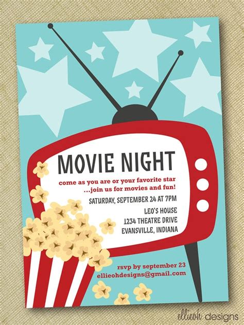 movie night party invitation movie night invitation movie night party pinterest