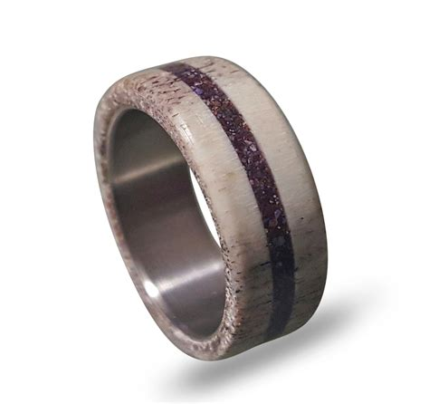 deer antler wedding band antler ring with ametyst inlay