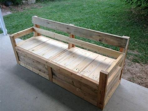 pallet bench with storage recycled wood pallet benches pallet wood projects