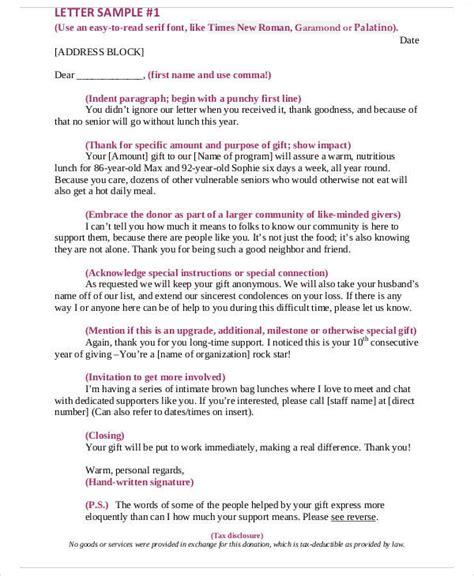 7 sle non profit thank you letter free sle exle format
