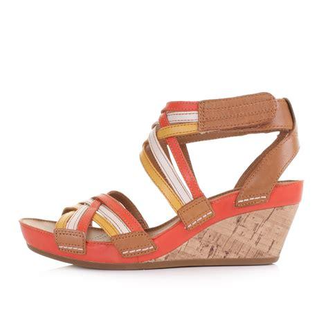 orange sandals shoes clarks free orange leather strappy wedge heel