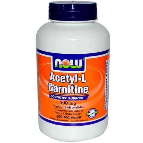 Acetyl L Carnitine Detox by Now Foods Acetyl L Carnitine 500 Mg 200 Vcaps Iherb