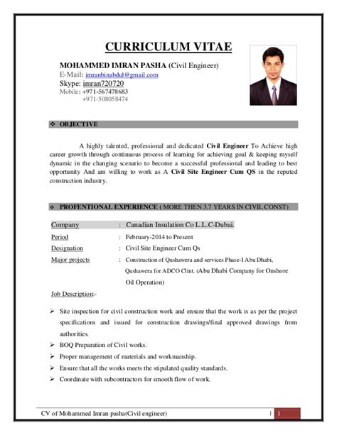 cv template civil engineer cv of mohammed imran pasha civil site engineer qs