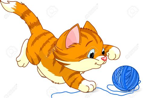 clipart cat kitten with yarn clipart
